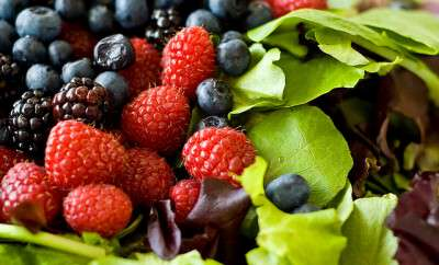 Berries and lettuce